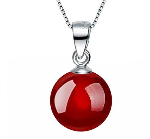 Damen Mode Halskette 925 Sterling Silber Ketten mit Anhänger Rot Kugel Geschenk für Muttertag ,Kette 45cm