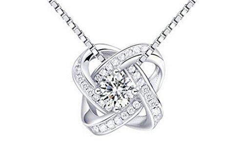 Damen Halskette aus 925 Sterling Silber Hypoallergen Ketten mit AAA Zirkonia