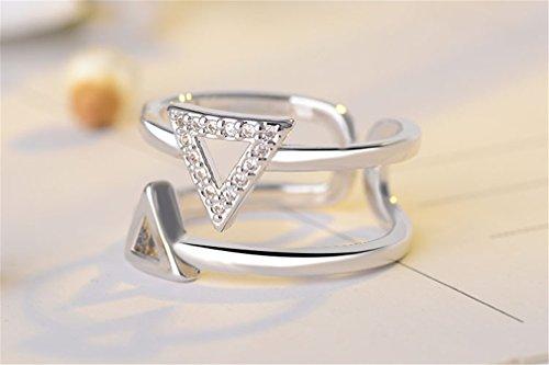 Damen 925 Sterling Silber Zirkonia Verstellbar Dreieck Partnerringe Ring Freundschaftsringe