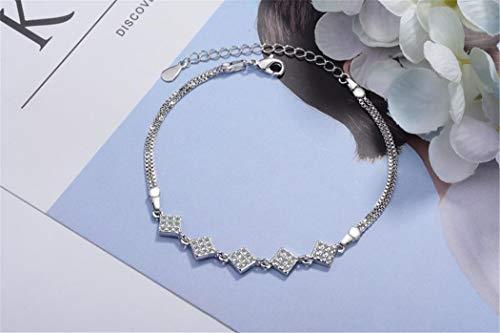 Damen Armband 925 Silber Platz Zirkon Armband Modeschmuck Armbänder Liebe Verstellbar 16-19.5 cm Stilvoll und Schön Armkette Damen mit Schmuckverpackung