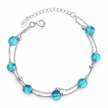 Damen Armband 925 Sterling Doppelschicht Blau Künstlich Kristall Armband Liebe Verstellbar 16-19.5 cm Stilvoll und Schön Armkette Damen mit Schmuckverpackung