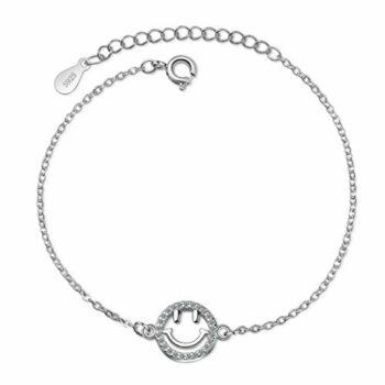 Damen Armband 925 Silber Smiley-Zirkon-Armband Modeschmuck Armbänder Liebe Verstellbar 16-19.5 cm Stilvoll und Schön Armkette Damen mit Schmuckverpackung