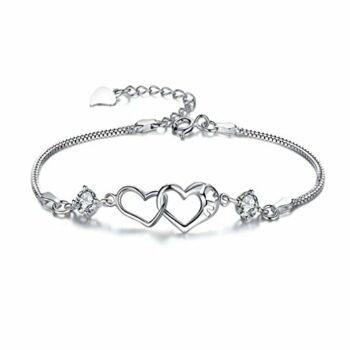 Damen Armband Armkette Charm Armreif Double Heart Kriatall Armreifen aus 925 Sterling Silber Weihnachtsgeschenke für Kinder Frauen