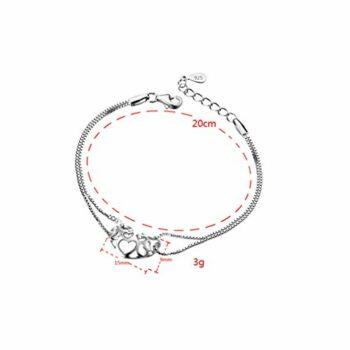 Damen Armband Armkette Hohl Herz-Armbänder 925 Silber Armreifen als Weihnachtsgeschenke für Kinder
