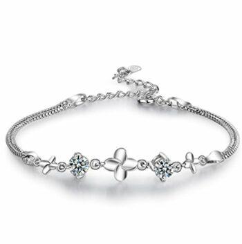 Damen Armband Armschmuck Armkette Armreifen aus 925 Sterling Silber Diamant Klee Studentin Paar Elegant Einfach Mode Süß Geburtstagsgeschenk Weihnachten
