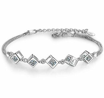 Damen Armband Armschmuck Armkette Armreifen aus 925 Sterling Silber Freundinnen Einfach Frisch Geburtstagsgeschenk Weihnachten