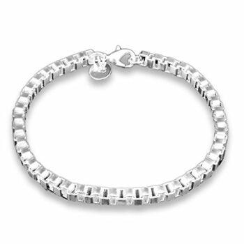 Damen Armband Mode Armreifen Schmuck 925 Sterling Silber Armkette Länge 19 cm