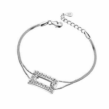 Damen Armband Retro Armkette Hohl Kristall Herz-Armbänder 925 Silber Armreifen als Weihnachtsgeschenke