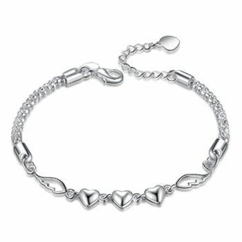 Damen Armband Retro Polieren Armkette Herz-Feder Armreifen Silber Charm Armreif Weihnachtsgeschenke für Kinder Frauen