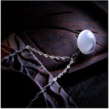 Damen Halskette 925 Sterling Silber 11mmWeiß Opal Träne Anhänger Mit Halskette