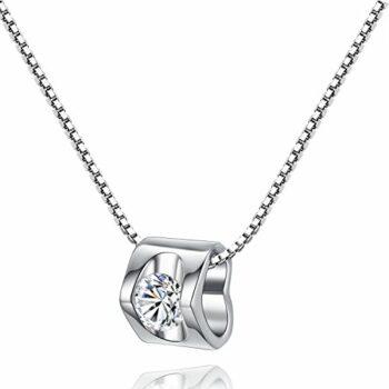 Damen Herzkette Silber 925 Kette Zirkonia Stein Geschenk Herz Silberkette Schmuck Frau Frauen Freundin klein Liebe besonders ausgefallen