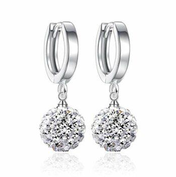 Damen Perlen ohrringe aus 925 Silber mit echten Süßwasser Perlen in Weiß, Rot oder Schwarz& Zirkonia Steinchen besetzt Wunderschöne, exklusive Ohrhänger im aktuellen Design aus unserer neuen Kollektion inkl. Perfektes Geschenk, Mit Schöner Geschenkbox