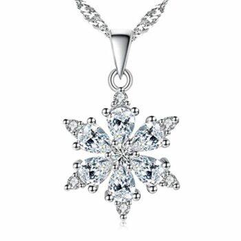 Damen Schmuck, Halskette Silber mit Schneeflocke Anhänger 925 Sterling Silber Zirkonia 45cm / Kette, Mit einer schönen Schmuckschatulle