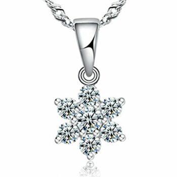 Damen Schneeflocke Kette Silber 925 Silber Halskette mit Zirkonia 45CM Kettenlänge Anhänger Weihnachten Geschenk für Frauen