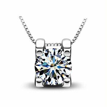 Halsketten für Frauen Silberkette Damen 925 Kette Silber mit Anhänger Zirkonia Damenkette schlichte klassische wie brilliant dezent klein Geschenkset