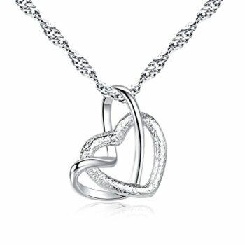 Kette Damen 925 Sterling Silber Doppel Herz Anhänger Halskette I Love You Forever für Damen mit 45cm sterling Silber kette Schmuck