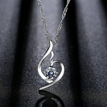 Kette Damen Halskette – 925 Silber Anhänger Silberschmuck Zirkonia Twist 45CM Kettenlänge Geschenk für Valentinstag Geschenk