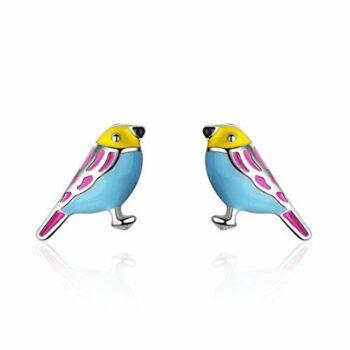 <strong>New Collection</strong> 1 Paar Kinder Ohrringe 925 Silber Ohrstecker Kleiner Vogel ,Das perfekte Geschenk für Mädchen und Mädchen