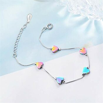 <strong>New Collection</strong> 1 Pcs 925 Silber Damen Armband mit Herzart Armband Bunt Armband und verstellbare Armkette