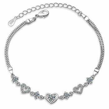 <strong>New Collection</strong> 1 Pcs Damen Unendlichkeit Herz Für immer zusammen Armband aus Liebe Zirkon 925 Sterling Silber Armkette Einstellbar
