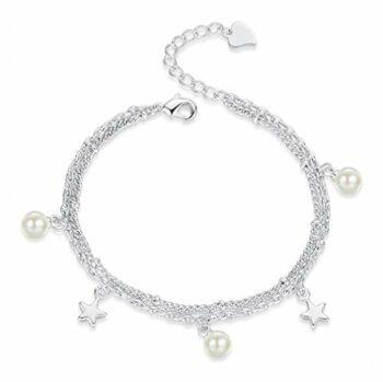 <strong>New Collection</strong> 1 Pcs Damen mädchen Armband Silber 925 mit Anhänger Sterne Perlen Charm-Armreifen Fußkettchen,verstellbar,Geburtstag, Weihnachten Geschenk für Freundin,