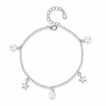 <strong>New Collection</strong> 1 Pcs Damen mädchen Armband Silber 925 mit Sterne Perlen Charm-Armreifen Fußkettchen,verstellbar,Geburtstag, Weihnachten Geschenk für Freundin,