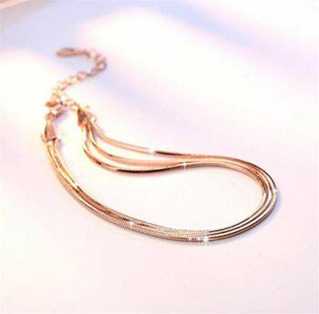 <strong>New Collection</strong> Damen Armband 925 Sterling Silber Zirkonia Ineinander Verschlungene Armkette Verstellbar Charm Armkettchen Rosegold