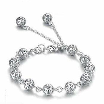 <strong>New Collection</strong> Damen Armband mit Kügelchen Armkette Armbänder versilbert Silber 925 Geschenk Geburtstag Weihnachten, einstellbar
