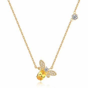 <strong>New Collection</strong> – Damen – Halskette -Zirkon- Anhänger – 925 Silber – Vergoldet – BEE – Biene – 45 cm