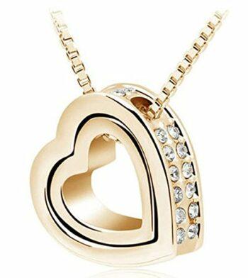 <strong>New Collection</strong> Damen-Kette Halskette mit Anhänger Voller Diamant Doppel-Herz Halskreif Schmuck