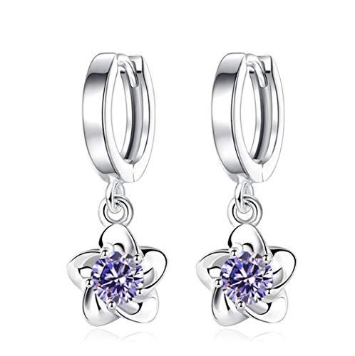 New Collection Damen Mädchen Ohrringe Silber 925 mit Zirkonia ,creolen mit Pflaumenblüte Blumen Glitzer wunderschöne, exklusive Ohrhänger im aktuellen