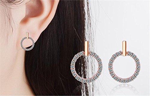 <strong>Sterling Jewellery</strong> Damen Ohrringe 925 Sterling Silber mit Zirkonia Runde Rosegold Einfache Studs Ohrstecker Mode für Mädchen Weihnachtsgeschenk
