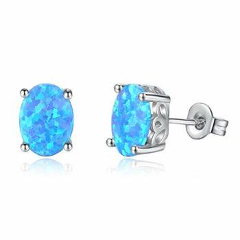 <strong>New Collection</strong> Damen Ohrstecker rund 925 Silber synthetischer Opal Ohrringe im blau ,Geschenk Geburtstag Weihnachten Valentinstag