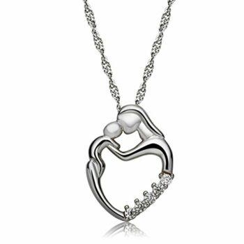 <strong>New Collection</strong> Damen Schmuck Halskette Kette mit Anhänger Mutter & Kind Kuss Verbundenheit Liebe Silber 925 Länge 45 cm
