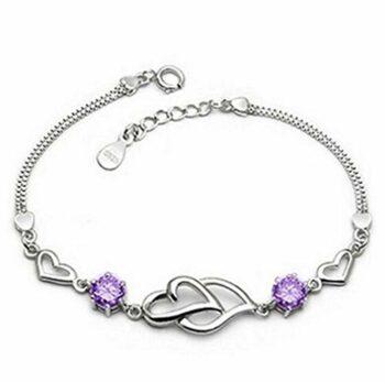 <strong>New Collection</strong> Damen Unendlichkeit Herz Für immer zusammen Armband aus Lila Zirkon 925 Sterling Silber Armkette Einstellbar