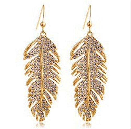 <strong>Sterling Jewellery</strong> Frauen Damen Ohrringe Böhmische Elegant mit Zirkon Feder Wunderschöne, exklusive Ohrhänger im aktuellen Design aus unserer neuen Kollektion (Golden)