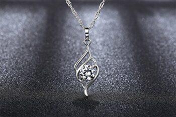 """<strong>New Collection</strong> Kette Damen Halskette 925er Silber Zirkon Anhänger """"Sternennacht"""" Valentinstag Geschenk Schmuck 45CM Kettenlänge"""