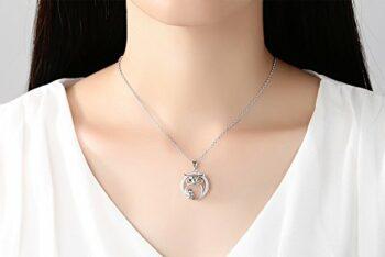 <strong>New Collection</strong> Ketten Damen 925 Silber Glück Mutter und Kind Eule Anhänger Halskette,Geschenke für Frauen 45 cm Kasten Kette