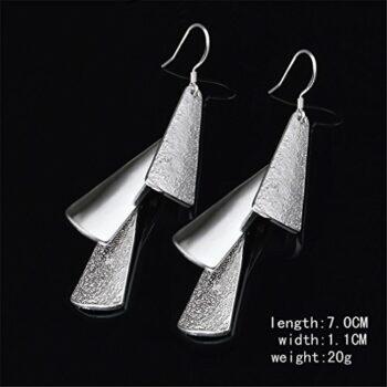 <strong>New Collection</strong> Ohrringe Hänger Damen Mädchen 925 Sterling Silber lang Retro 3 Bling Bling Blatt wunderschöne, exklusive Ohrhänger im aktuellen Design aus unserer neuen Kollektion