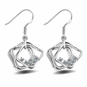 <strong>New Collection</strong> Ohrringe mit Anhänger Damen Mädchen 925 Sterling Silber lang Edel unregelmäßig Linie mit Zirkonia wunderschöne, exklusive Ohrhänger im aktuellen Design aus unserer neuen Kollektion
