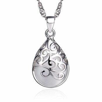 <strong>New Collection</strong> Opal Anhänger Halskette 925 Silber Opal Kette für Damen 40+5 CM DamenKette Schmuck Geschenk für Frauen Perfektes Geschenk