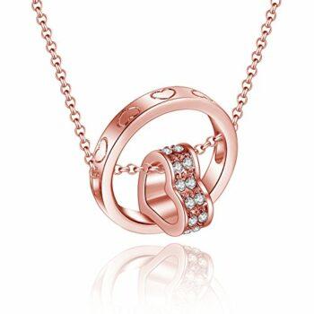 <strong>New Collection</strong> art Kette Halskette 925 Sterling Silber Ring mit Glücklich Herz Anhänger Elements Steinchen Rosegold Gold Vergoldet Damen Kinder Geschenke