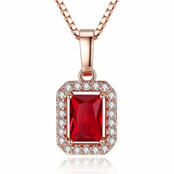 <strong>New Collection</strong> kette für Damen Taube Blut Rot Synthetisch Rubin Anhänger Halskette Kette 925 Sterling Silber Damen